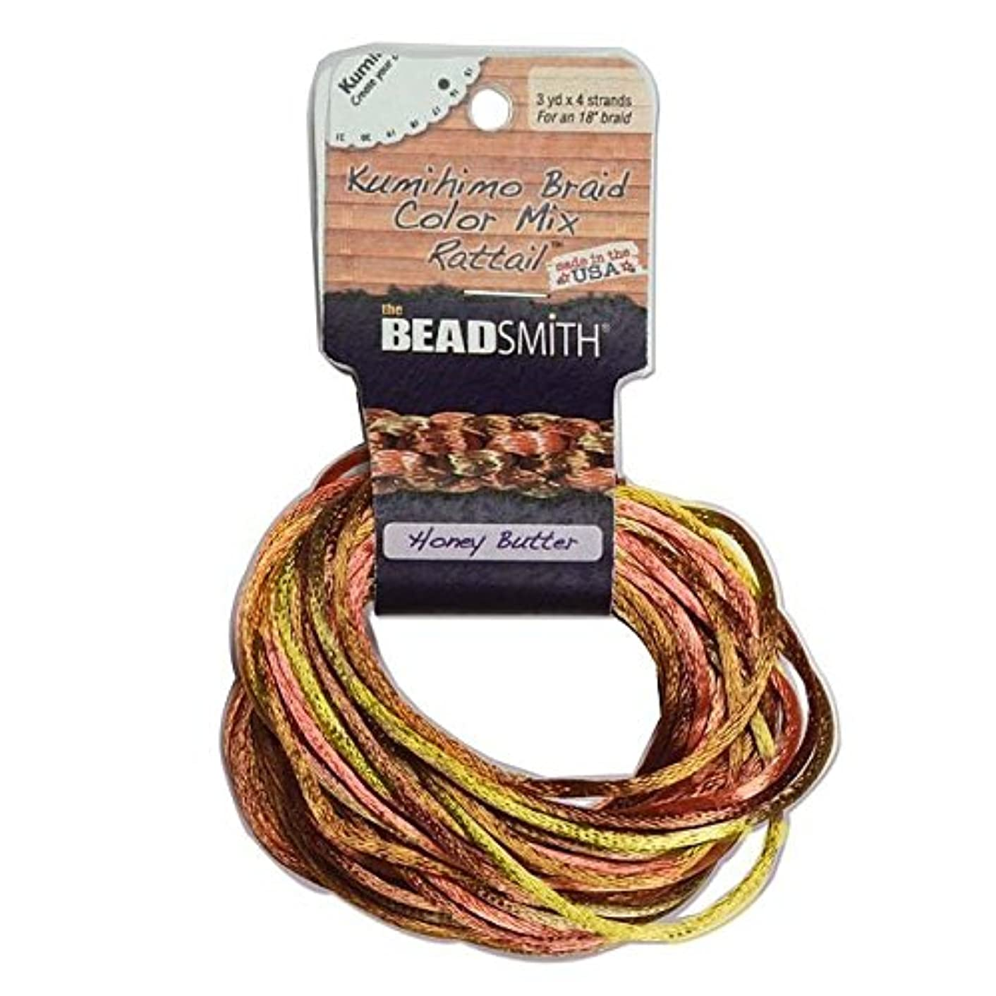 Beadsmith XCR-3041 Honey Butter Mix 4 Color Satin Rattail Cord, 3 yd/2mm