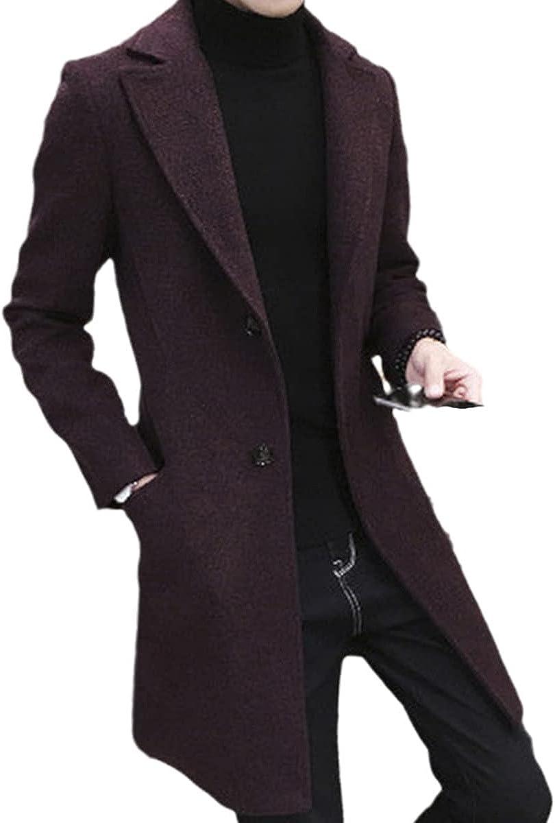 Men's Jacket Casual Long Jacket Thick Wool Windbreaker Fashion Warm Jacket Lapel Spring And Autumn Coat