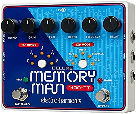 electro-harmonix 68327401117 2 Deluxe Memory Man Pedal - Pedal de efecto eco/delay/reverb para guitarra, color plateado