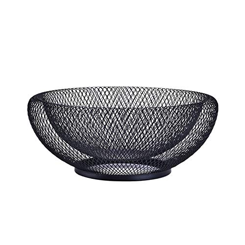 Fruit Tray Metal Mesh Bowl Coffee Table Candy Snack Bowl Centerpiece Kitchen Holder Double Wall Mesh Decorative Fruit Basket Kitchen Living Room (Color : Black, Size : Medium)