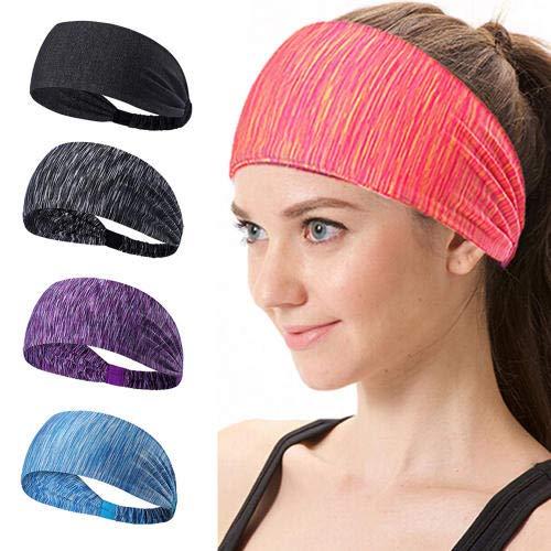 JLERA Yoga Sport Hoofdband, Elastische Atletische Haarband Hardlopen Haarband Turban Outdoor Gym Sweatband 5 STKS