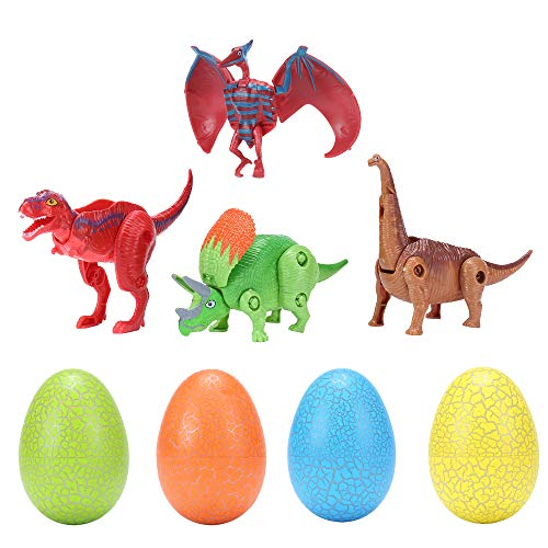 Easter Eggs Toys Hatching Dinosaur Surprise Eggs Game Party Favors for Age 3 to 8 Years (4PCS) Color by Random