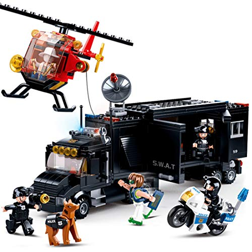 AMITAS City- SWAT Polizei Kommandozentrale mit SWAT Mannschaftswage Kompatibel mit Lego Figuren- Konstruktionsspielzeug 540 Stück