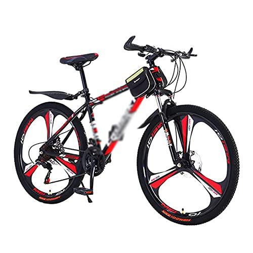 Bicicleta de montaña con Ruedas de 26 Pulgadas Marco de Acero al Carbono de Bicicleta de Doble suspensión con Horquilla Delantera bloqueable con amortiguación (tamaño: 24 velocidades, Color: Azul)
