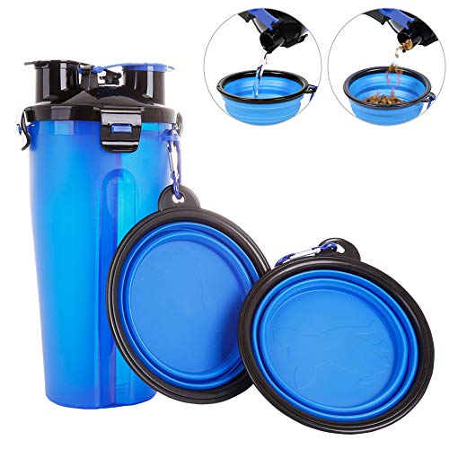 Powerking Botella de Agua para Perro, 350ml 2 en 1 PP para