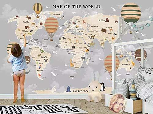 Decorazione domestica dei murales della stanza dei bambini. Carta da parati della mappa del mondo Carta Da Parati Fotomurali moderna cucina colla camera da letto-350cm×256cm