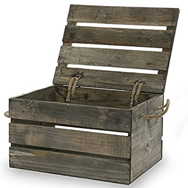 The Lucky Clover Trading Antique Wood Crate Storage Box with Swing Lid, 11 , Gray