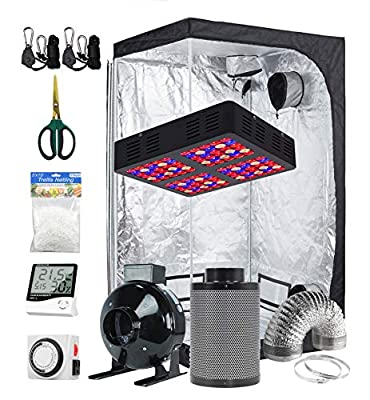 Prime Garden 600W LED Grow Light + 48''x 48''x 80'' Grow Tent + 6'' Fan Carbon Filter Ducting Combo + Hygrometer + Timer + Shears + Hangers + Trellis Netting for Indoor Plants Growing Complete Kit