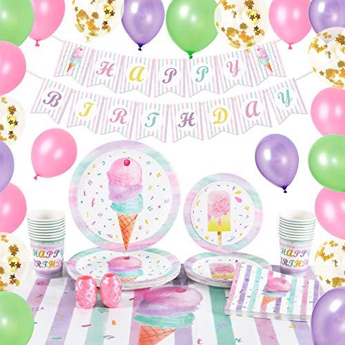 WERNNSAI Set di Forniture per Feste Gelato - Decorazioni per Feste Estive Dolci Rosa per ragazze Compleanno Banner Palloncini Tovaglia Piatti Tazze Tovaglioli Per 16 Ospiti 89 PCS