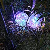 Saubhagya Global Solar Lantern Hanging Mason Jar Light Waterproof Table Lamp Crack Glass Globe Garden Light for Party Wedding Christmas Decoration ((Set of 2 Pcs, Multicolor)