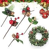 20 Piezas Rama de Pino Artificial Navidad Bayas Rojas Pino Artificial para Arreglos Florales Árbol de Navidad Corona de Navidad Decoración de Jardín de Boda Ramos Decoración Floral de Vacaciones
