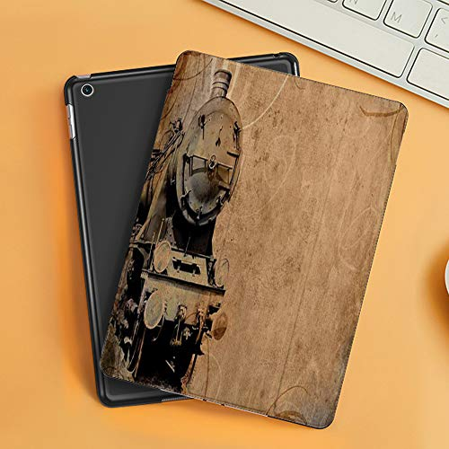 Case for iPad Air 10.2(2019/2018),Steam Engine Antique Old Iron Train Aged Sepia Grunge Style Design Industrial Theme Print,Cover with Auto Sleep Wake Feature, Slim Lightweight Stand Protective Case