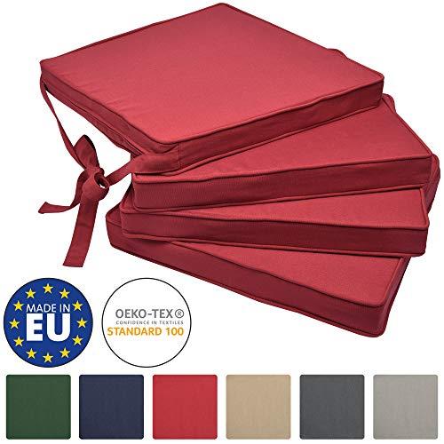 Beautissu Loft SK Stuhlkissen 4er Set - Bequemes Sitzkissen für Stühle 45x40x5 cm - Mit Schleife - Rot & div Farben wählbar