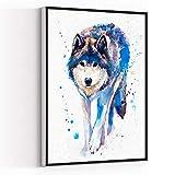 LIVING ROOM WALL DECORATIONS,kids bathroom decor,living decor,Wolf watercolor painting print,16''x24'' Framed Modern Canvas Wall Art,