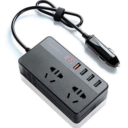 XOBO Inversor de Corriente para automóvil de 300 W (Pico) Convertidor DC 12V a AC 220V, con Pantalla LED, Toma de Corriente y Puerto USB, Adecuado para teléfonos móviles, Carga de portátiles