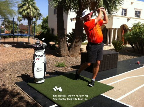 The Original Real Feel Golf Mats Country Club Elite 4 x5  Heavy Duty Commercial Practice Mat. The First Golf Mat That Takes A Real Tee and Lets You Swing Down Through,Simulator,Indoor, Outdoor Use …