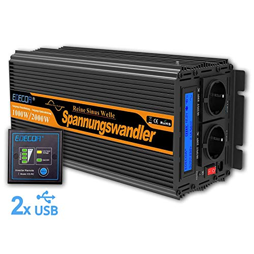 EDECOA Spannungswandler 12v 230v Reiner Sinus Spannungswandler 1000w wechselrichter 12V 230V LCD mit Fernbedienung und Zwei USB-Ports Power Inverter