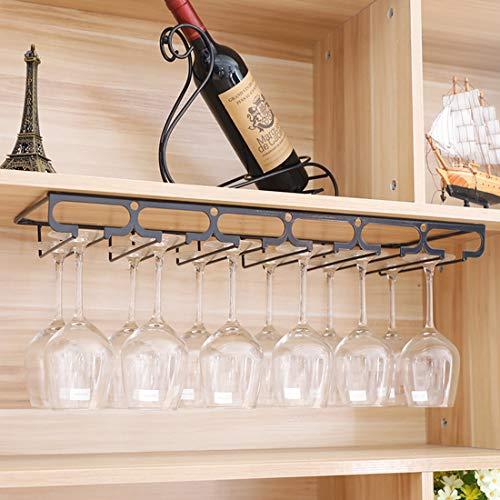 Tosbess Portabicchieri Porta calici - Supporto con 6 binari per 12-18 Bicchiere di Vino - Mantieni I Bicchieri asciutti - a Sospensione o a Parete, Cromato,60 x 22,5 x 5,5cm