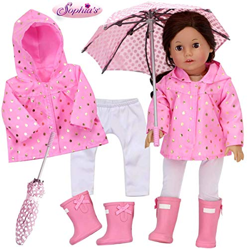Sophia's Doll Clothes 4 Piece Rain Set with Lightweight Pink Jacket, White Leggings, Pink Rain Boots and Polka Dot Umbrella Sized for 18 Inch Dolls