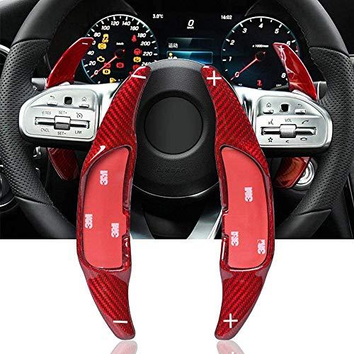 ontto DSG Auto Lenkrad Schaltwippen Verlängerung für M-ercedes AMG CLA 45 C63 E63 S65 GLA45 A45 G63 GLE63 GLS53 Shift Paddle Kohlefaser Schaltwippe Lenkradschaltung Schaltpaddel Erweiterung-Rot