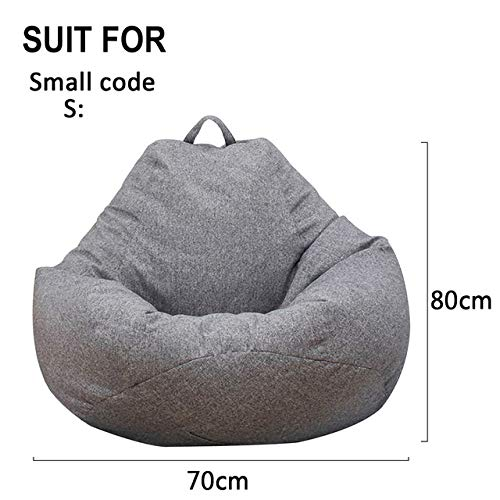 LJQLXJ divano Small Lazy Sofas Cover Chairs Without Filler Linen Cloth Lounger Seat Bean Bag Pouf Puff Couch Tatami,Gray,70x80 cm