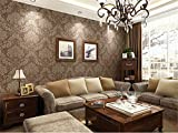 SISITAR Tapete Barock Tapete Vlies Nicht Selbstklebende Dreidimensionale Verdickung Wand Dekoration Für Wohnzimmer Schlafzimmer Fernseher Hintergrund (Braun,10 m × 0.53 m)