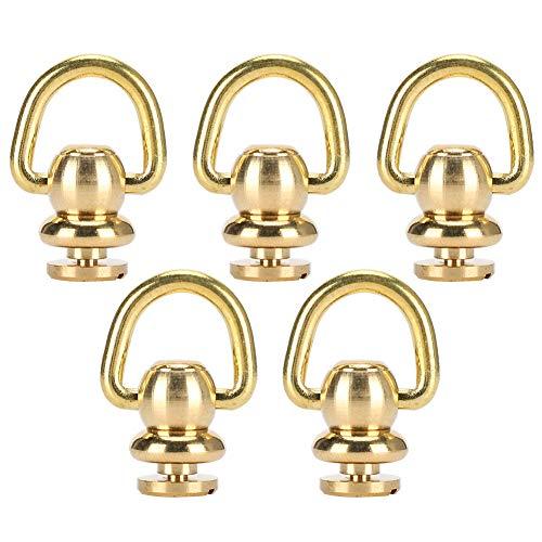 Fydun Remaches de latón 5 Juegos Anillo en D Clavo Chicago Tornillo de Metal y Tornillo para Cuero Craft Perfume Bell Gold, 10x5 mm