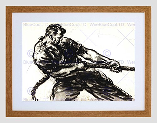 Wee Blue Coo Drawing Docks UK WWIIBlack White Charcoal Rope Man Pull Lámina Enmarcada 12 x 16 Pulgadas