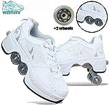 Zapatos de deformación Zapatos de patines de ruedas Zapatos de ruedas para niños y niñas Zapatillas de ruedas para niños Zapatos deportivos de ruedas con ruedas de doble hilera GrisA-38-Blanco_41