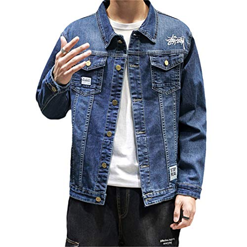 Hombres Casuales Slim Bordado Blue & Negro Algodón Denim Jacket Hip Hop Jeans Chaquetas Abrigo más Szie Blue XXL