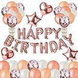 DEZEHUI Geburtstagsdeko Happy Birthday Girlande Ballons Stück Partyzubehörsets, Geburtstag Dekoration Set mit Luftballons für Mädchen und Jungen Geburtstag, Party (Rosa)