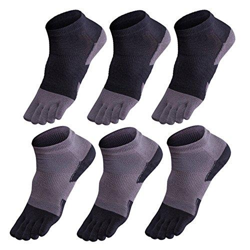 GINZIN 6 paia Cotone sportivi cinque calzini della punta della barretta degli uomini di Calze sportive (1#)