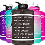 HydroMATE 1 Gallon Motivational Water Bottle with Time Marker Large BPA Free Jug with Straw & Handle Reusable Leak Proof Bottle Time Marked Drink More Water Daily Hydro MATE 128 oz Black