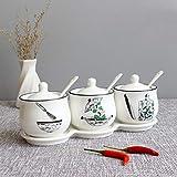 Hwshop - Juego de condimentos de cerámica para condimentos, para el hogar, cocina, condimentos, sal, azúcar, especias, caja de almacenamiento con tapa, cuchara y bandeja para condimentos (color A: A)