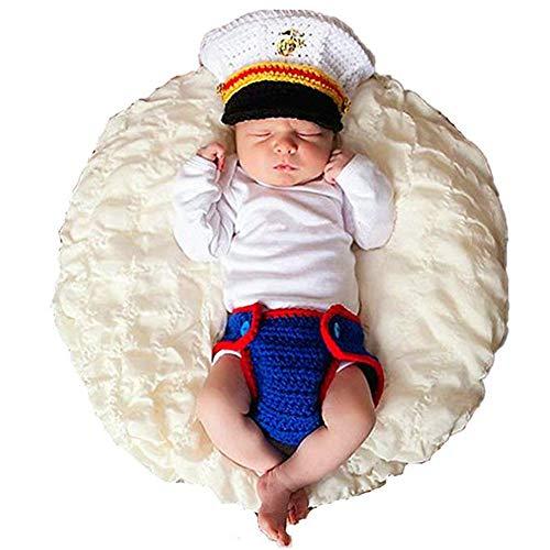 Lppgrace Newborn Baby Photography Props Crochet USMC Marines Uniform Costume Outfits (Blue)