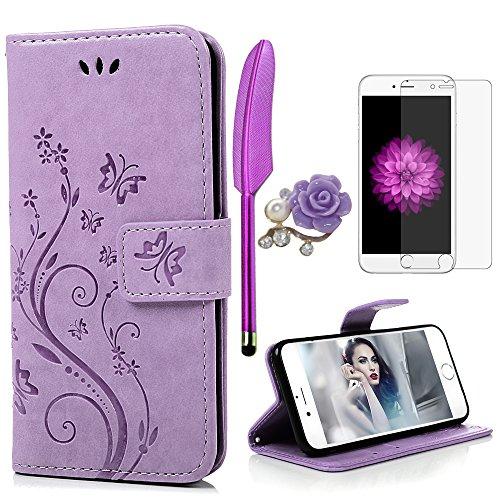 iPhone 6 / 6S Hülle (4,7 Zoll) Wallet Case Flip Hülle YOKIRIN Schmetterling Blumen Muster Schutzhülle PU Leder Brieftasche Ledertasche im Bookstyle für iPhone 6 6S Tasche Hell Lila