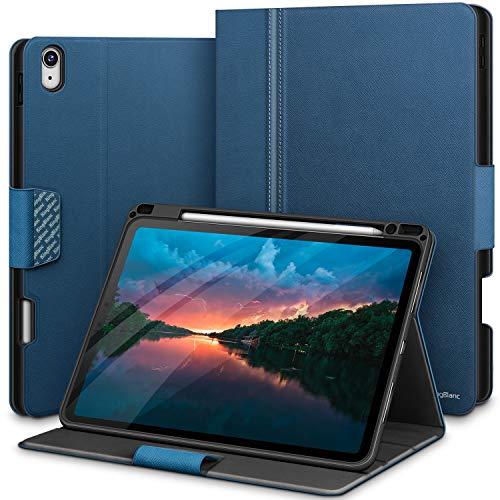 KingBlanc Funda para iPad Air 4 2020 de 10.9 pulgadas con soporte para lápiz, compatible con emparejamiento/carga inalámbrica para Apple Pencil 2ª generación, piel sintética para iPad Air4 (azul)