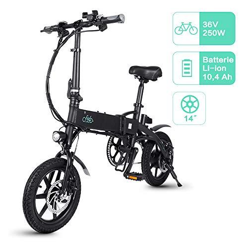 FIIDO D1 Vélo Électrique Pliant, Léger et Imperméable, 36V 7.8Ah/10.4Ah Batterie au Lithium à Grande Capacité,Jusqu'à 25 km/h(10.4Ah, Noir)