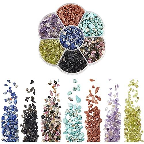 NBEADS 1 caja de cuentas de piedras preciosas de viruta natural, 7 colores, sin agujeros, cristales pulidos de forma irregular, cuentas sueltas para hacer joyas y regalos