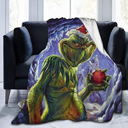 JONINOT Grinch Who Stole Christmas Manta Colcha de Microfibra Manta Colcha de Cama 80 'x 60'
