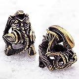 CooB EDC Paracord Bead Beads Pendant, Beard Bead Alien Predator. Metal Hand-Casted Paracord Beads for Custom Paracord Bracelet, Knife Lanyard. Marvel Collection 1pcs/Lot (Alien Bronze)