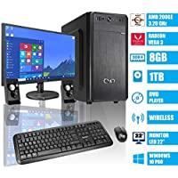 "- CeO Delta V1 - Ordenador de sobremesa - AMD 200GE 3.20GHz 4MB Cache | 8GB RAM | 1TB HARD DISK | Radeon Vega 3 | HDMI/VGA Full HD | USB 3.0 | DVD | WI-FI | MONITOR LED 22"" | WINDOWS 10 PRO"