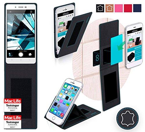 Hülle für Oppo Mirror 5s Tasche Cover Hülle Bumper | Schwarz Leder | Testsieger