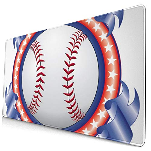 Large Mouse Pad Cool Baseball Design with Ribbons XL Extended Gaming Mouse Pad Portable Large Desk Keyboard Pad Waterproof Writing Pad for Mouse Office, Home, Non-Slip Rubber Base