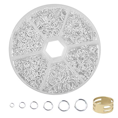 Nigaga Super Strong Metal Open Jump Rings 4mm 5mm 6mm 7mm 8mm 10mm Set with Box and Golden Jump Ring Opener for DIY Jewelry Making and Necklace Repair (Silver)