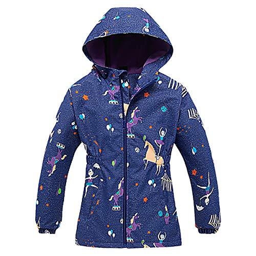 L SERVER Mädchen Softshelljacke Mädchen Jacke mit Fleecefütterung Übergangsjacke Trekkingjacke Outdoor Windjacke, Violett 1, 104-110