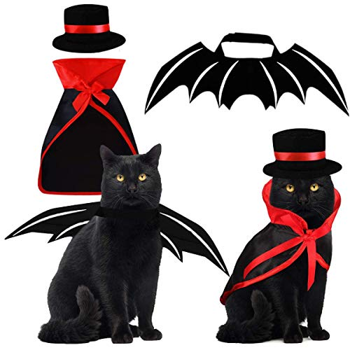 Pet Costumes Cat Cosplay 3 PCS, Vampire Cloak with Bowler Hat Bat Wings Pet Cosplay Costumes for Small Cats Funny Holiday Clothes for Black Halloween Night Bloody Zombie Party Easter Gift