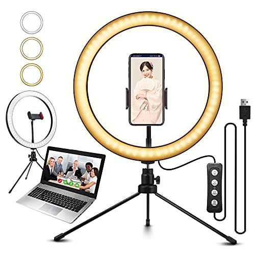 ELEGIANT 10.2インチ LEDリングライト 自撮りライト ビデオカメラ撮影 アルミ合金シェル 美容化粧 11段階調...
