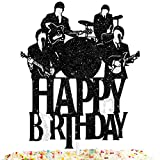 Happy Birthday Cake Topper Music rock pop The Beatles Theme Black Glitter Decor Picks for Beatlemania Party Decorations Supplies