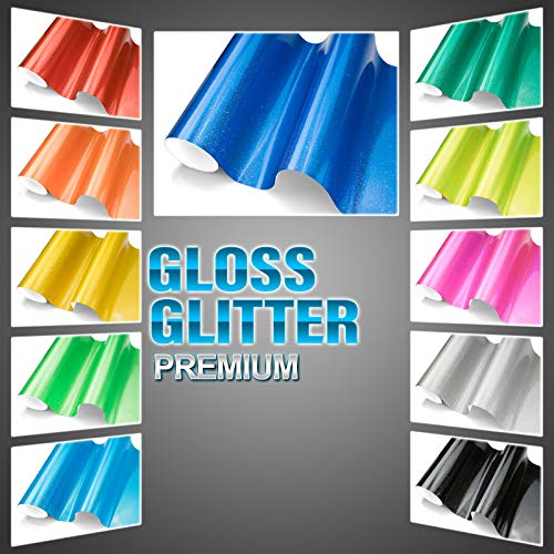 JDMBESTBOY Free Tool Kit Premium High Gloss Glitter Sparkle Metallic Vinyl Wrap Sticker Decal Film Sheet Bubble Free Air Release Technology (5FT x 25FT, Teal)